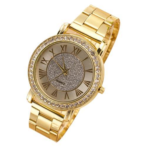 Luxury Business Men's Quartz Watch Retro Golden Color Shiny Rhinestone Alloy Band Analog Quartz Wrist Watch Clock Feminino