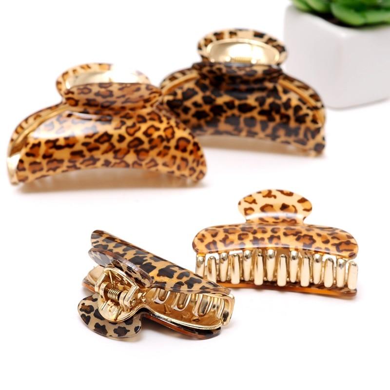 Acrylic Hair Claw Hair Pins Simple Bath Hair Clips For Woman Hair Barrette Leopard Print Solid Girls Hair Crab Hair Accessories