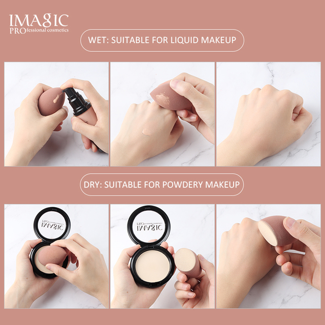 IMAGIC Makeup Mixer Soft Water Sponge Puff Professional Makeup Puff Sponge for Foundation Cream Concealer Makeup 3 Pack 4