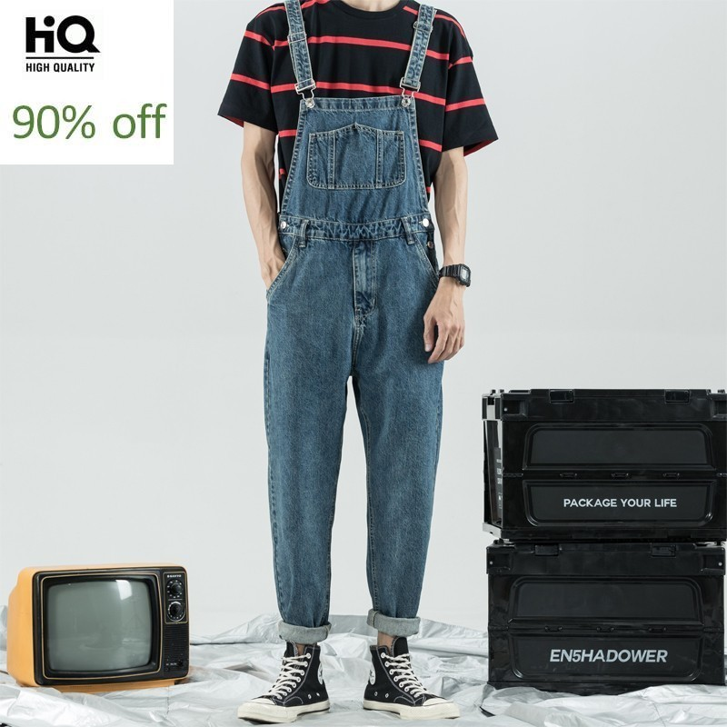 Men Denim Jumpsuit Slim Fit College Vintage Jean Overalls Cargo Pants Boyfriend Harajuku Style Zipper Harem Pants M-3XL Blue