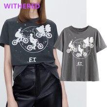 Withered Inglaterra high street vintage Alien ET estampa algodón verano camiseta mujeres harajuku camiseta camisetas verano 2020