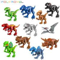 Bloques de construcción de dinosaurios para niños, Tiranosaurio rex, Triceratops, Pteranodon, raptores, Parque Jurásico, juguetes para regalo de fiesta