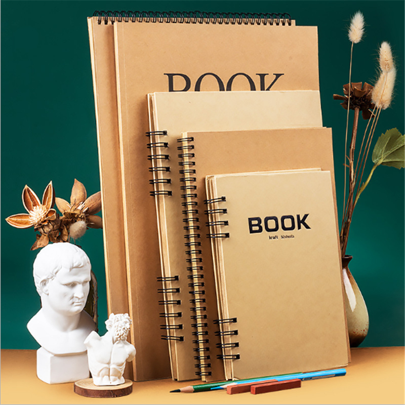 Kraft Sketchbook Diary For Drawing Painting Graffiti Soft Hard Cover Sketch Book Memo Pad Notebook Office School Supplies Gift