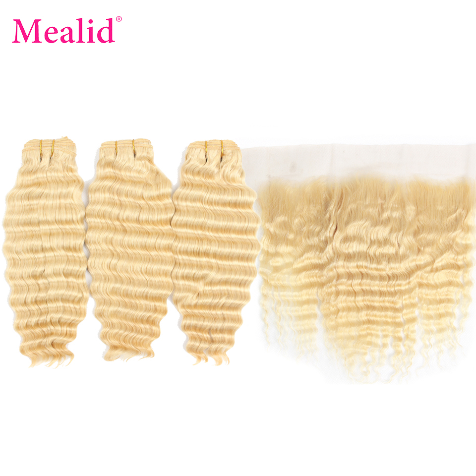 Mealid Peruvian Deep Wave 3 Bundles With Closure Remy Human Hair 613 Bundles With Frontal Blonde Bundles With Frontal Closure image