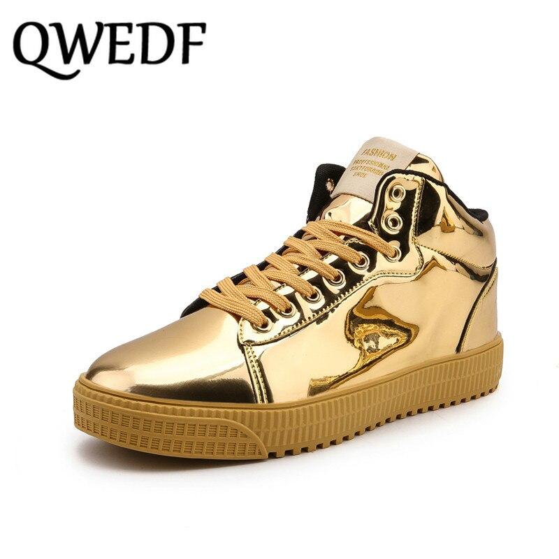 QWEDF2019 femmes chaussures vulcanisées baskets dames à lacets décontracté Basket chaussures marche Bling miroir en cuir plat argent chaussure SE-92 - 4
