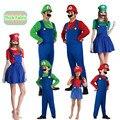 Костюм супермарио для детей и взрослых, одежда для братьев, костюм для косплея, костюм на Хэллоуин, Рождественская одежда