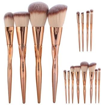 4/8pcs A Set  Metal Makeup Brushes Cosmetic Face Foundation Power Eyeshadow Blush Make Up Brush Kit Maquiagem Cotton Pad Dfdf