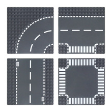 Baseplate-Block T-Junction City Crossroad Classic Road-Street Assembly Straight DIY Parts