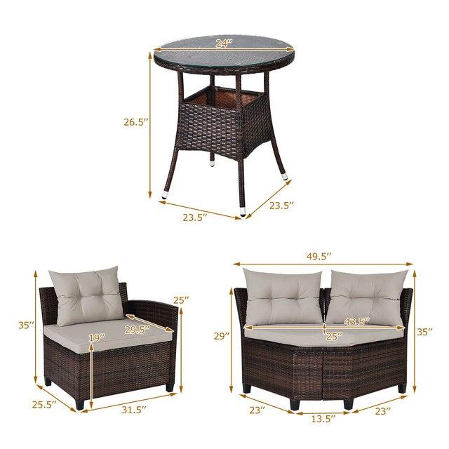 4PCS Furniture Set Outdoor Patio Rattan Cushioned Sofa  w/ Table  2