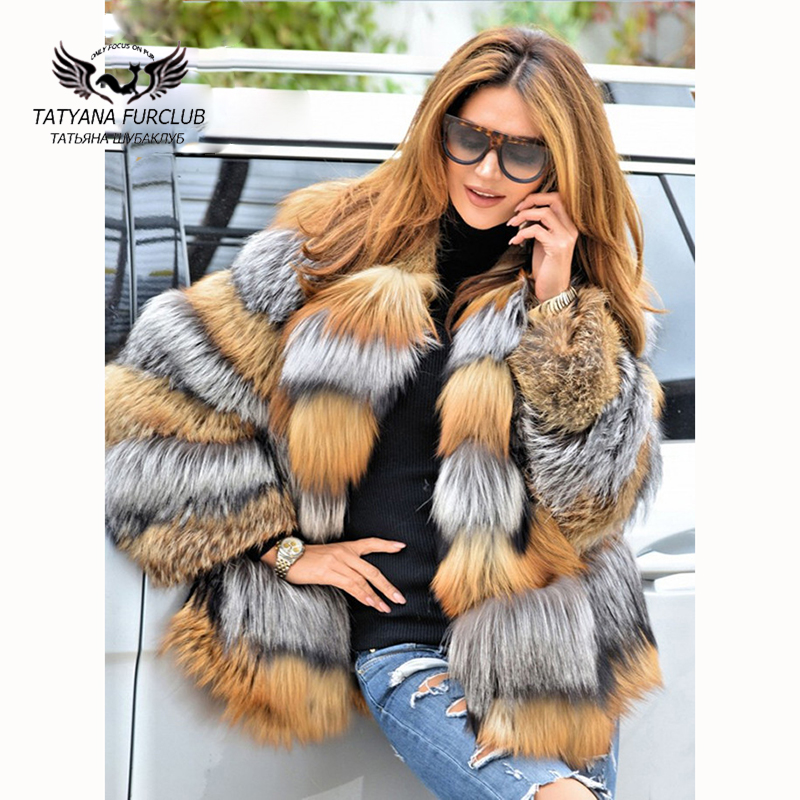 Tatyana Furclub Real Fur Coat Natural Sliver Fox Coat With Collar Warm Winter Women's Whole Real Silver Fox Fur Casual  Coat
