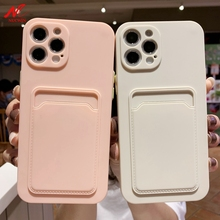 Coque de Protection antichoc en Silicone liquide pour iPhone, étui de téléphone avec fente pour carte, pour iPhone 12 Pro, 11, 11Pro Max, X, Xs, Xr, 7, 8 Plus, SE2