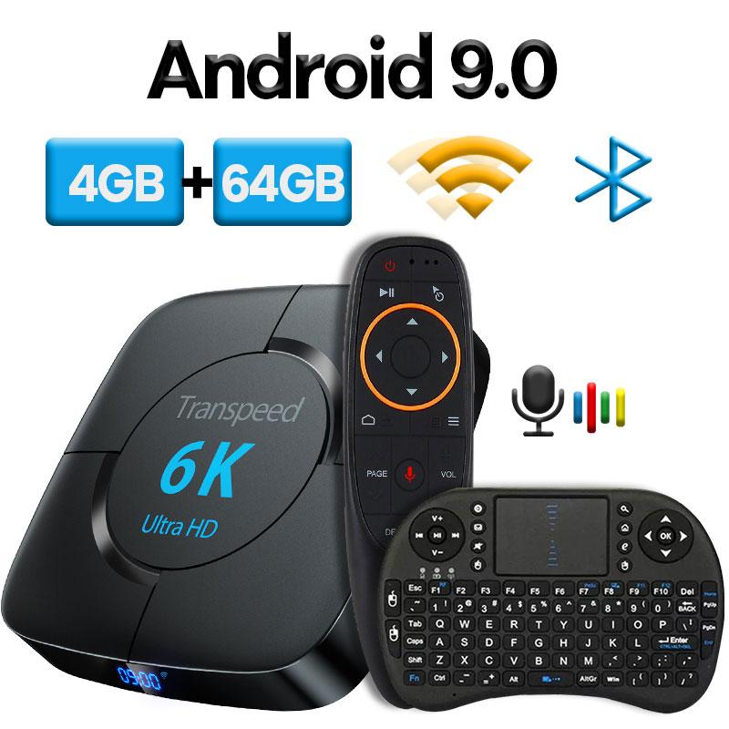 Transpeed android 9.0 caixa de tv bluetooth google assistente voz youtube 6 k 3d wifi 2.4g & 5.8g 4 gb ram 64g play store caixa superior