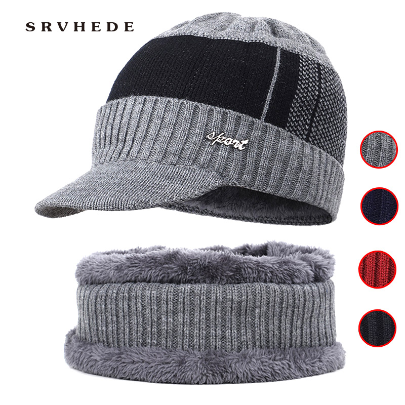 2019 Winter Hats For Men Women Skullies Beanie Hat Winter Cap Men Women Wool Scarf Hat Set Knitted Balaclava Mask Gorras Bonnet