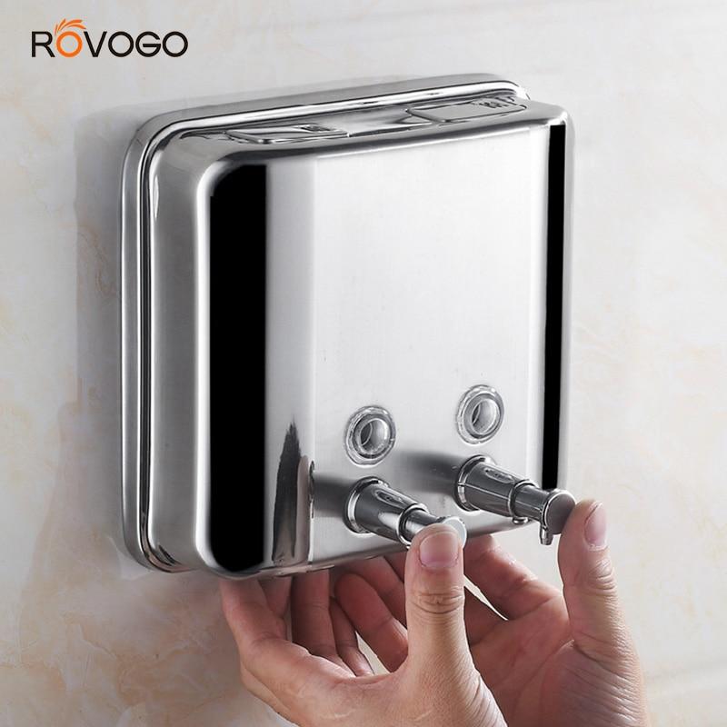 ROVOGO 1500ml Soap Dispenser Wall Mounted, Double Shampoo Shower Gel Dispenser Dispenser For Bathroom Kitchen Hotel