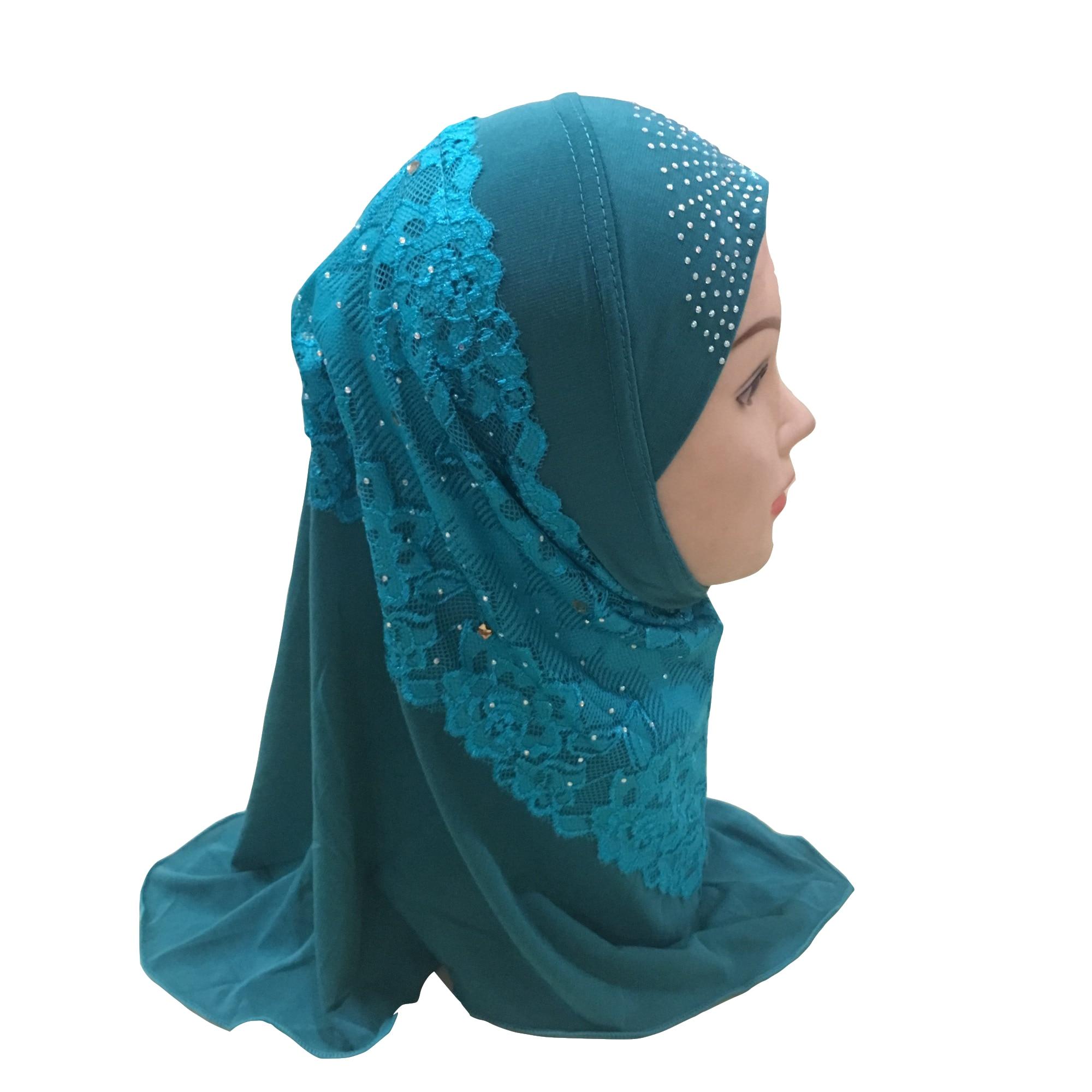 Image 3 - Muslim Girls Hijab Kids Hijab Islamic Fashion Scarf Shawls with  Beautiful Lace Diamond WholesaleIslamic Clothing