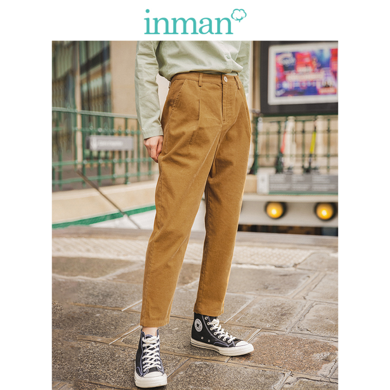 INMAN Spring Autumn 100%Cotton Medium Waist Solid Fashion All Matched Harem Corduroy Women Casual Pencil Pants