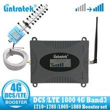 Lintratek LTE 4G DCS 1800 MHz สัญญาณเครื่องขยายเสียงโทรศัพท์มือถือ 4G GSM สัญญาณ repeater Booster อินเทอร์เน็ต yagi whip เสาอากาศ