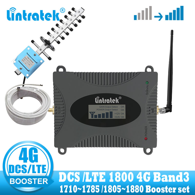 Lintratek Lte 4g DCS 1800mhz Cellular Signal Amplifier Cell Phone 4g Gsm Signal Repeater Booster Internet Yagi Whip Antennas