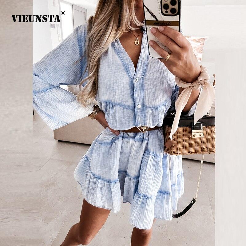 Summer Fashion Chic V Neck Button Mini Dress Female Casual Loose New Beach Dress 2021 Elegant Solid Ruffle Women Party Dress XL