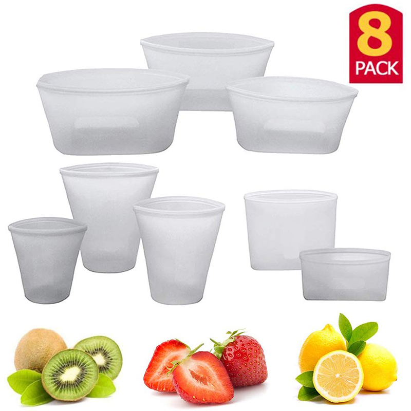 8Pcs Silicone Food Storage Bag Fresh Bowl Fridge Organizer Reusable Stand Up Zips Shut Bag Fruit Vegetable Cup Bag With Seal