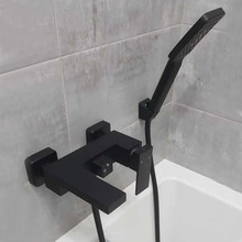Tap Shower-Faucet Mixer Wall-Mounted Hand Brass Bathroom Copper Matte Black Finish