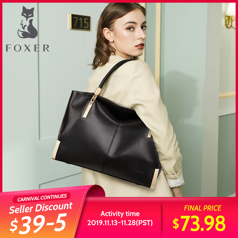 FOXER Brand Women Handbags Female Cow Leather Shoulder Bag Lady Classic Totes Large Capacity Zipper Purse Top-Handbag For Women