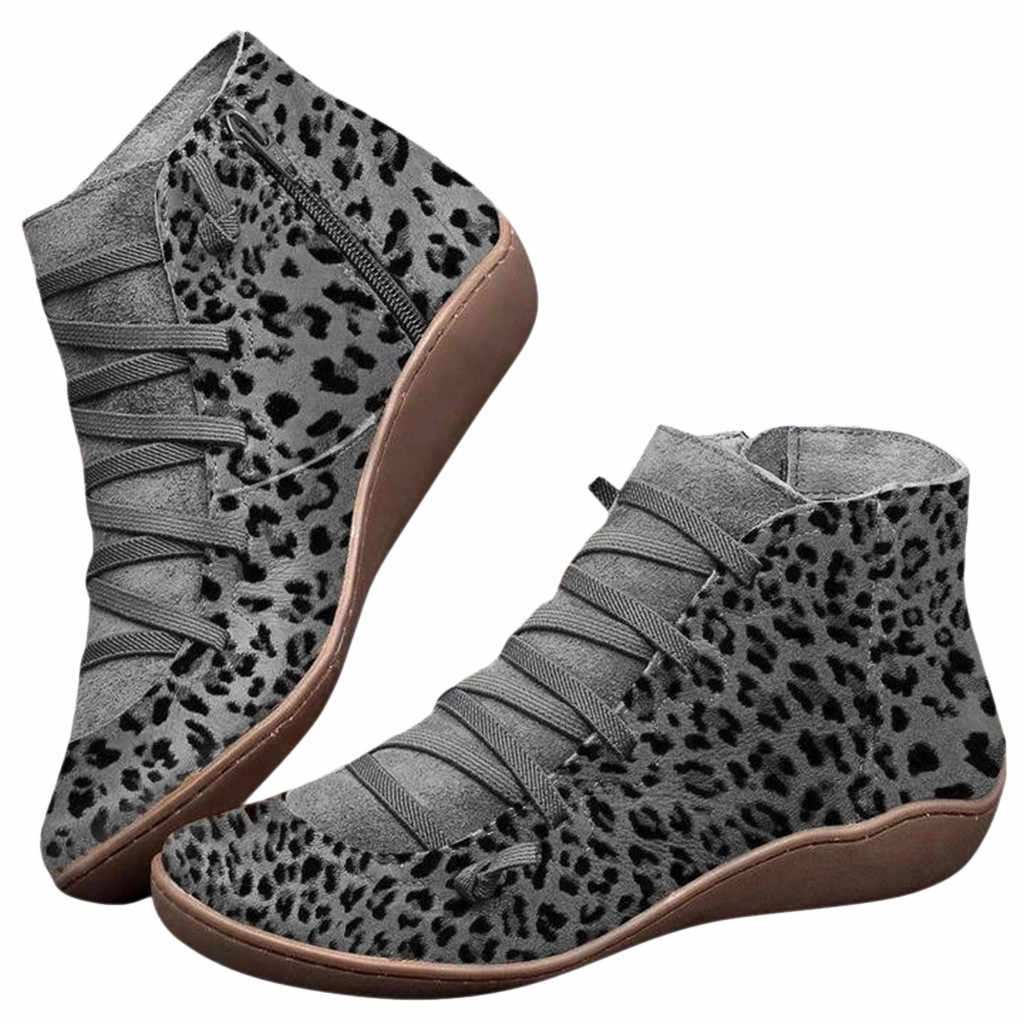 Womens Boots  Socofy Leather Lace Up Booties Womens Leopard Cross Strap Flats Winter 2019 Boots Fall Women Shoes ##4
