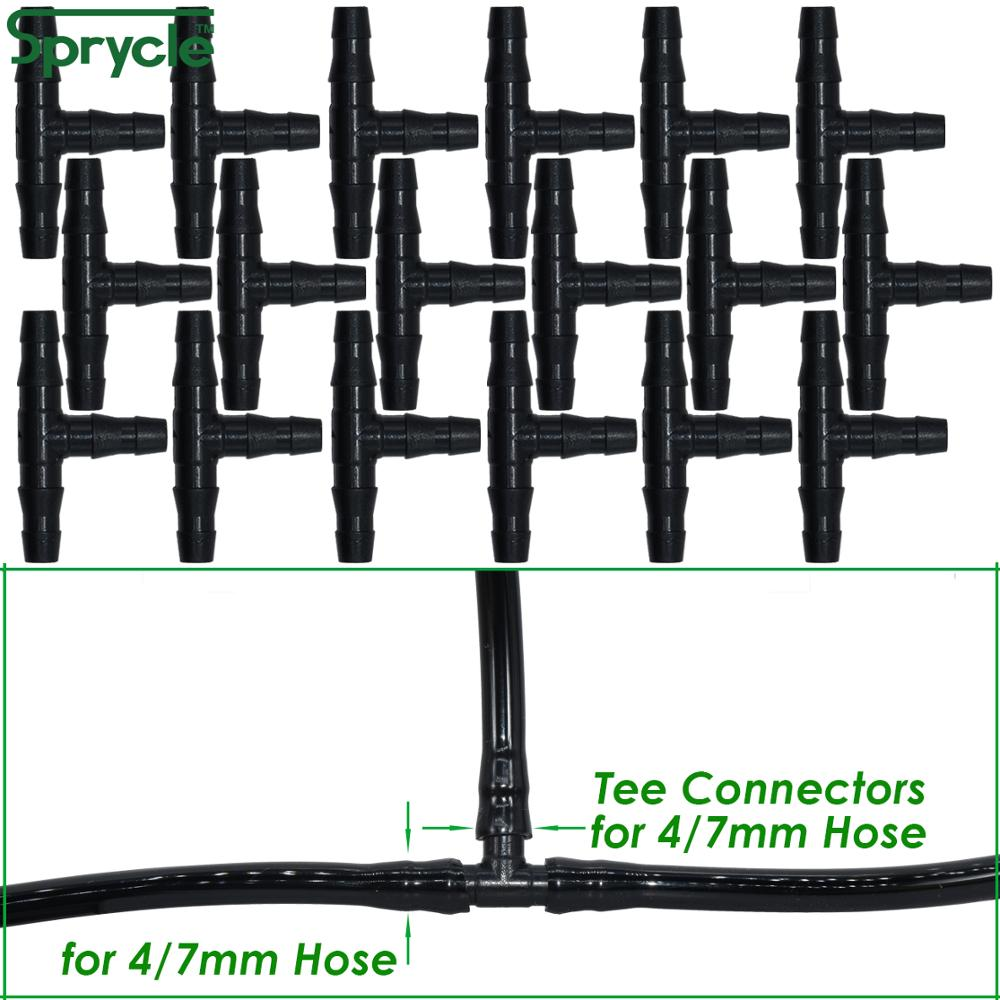 SPRYCLE 20-100PCS 1/4 Inch Connector Joint Tee Drip Irrigation Dripper Watering Garden Tools for 4mm/7mm Pipe Hose Greenhouse