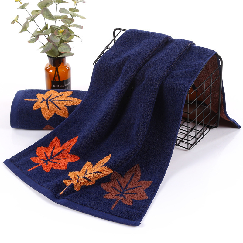 NEW Simple Solid Color Maple Leaf Pattern Jacquard Cotton Washcloth Home Grooming Towel Bathroom Bath Towel