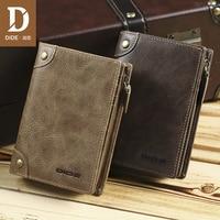DIDE 100%Top Cowhide Vintage men's Wallets Male Purse Short Genuine Leather Zipper Coin Purse Wallet Card Holder Brand Bag