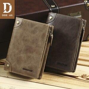 Image 2 - DIDE marka inek derisi erkek cüzdan erkek çanta kısa hakiki deri fermuar bozuk para cüzdanı cüzdan kart tutucu güzel hediye kutusu