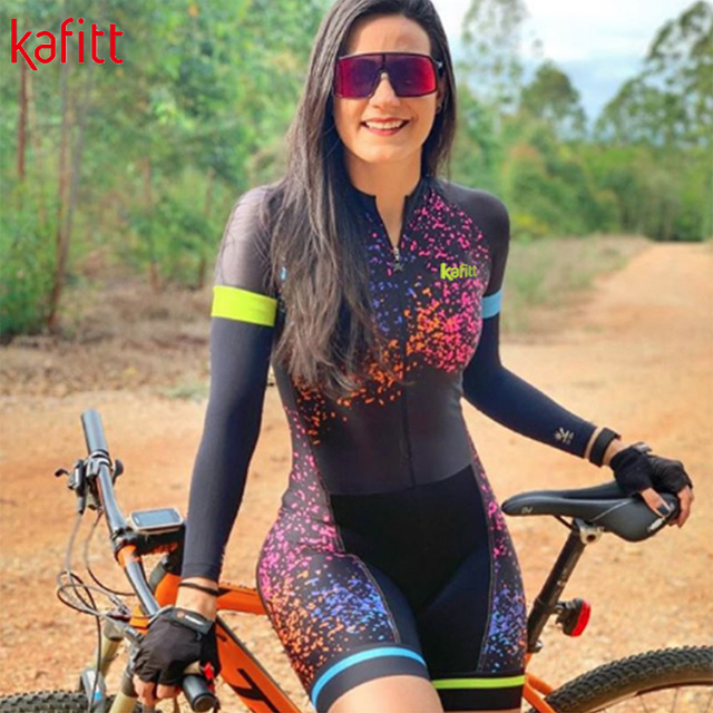 kafitt Triathlon Cycling Suit Fato Pro Cycling Captain manga comprida Maillot Ciclismo Ladies Summer respirável collant casual wear 2