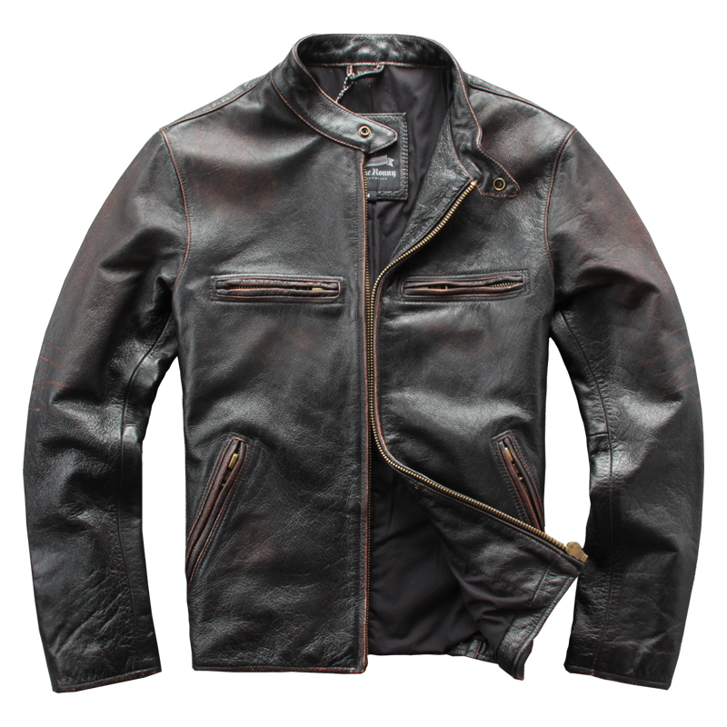 Free Shipping.wholesales.man Genuine Leather Jacket.vintage Brown 100% Leather Coat.mens Cowhide Motor Biker Jackets.cool
