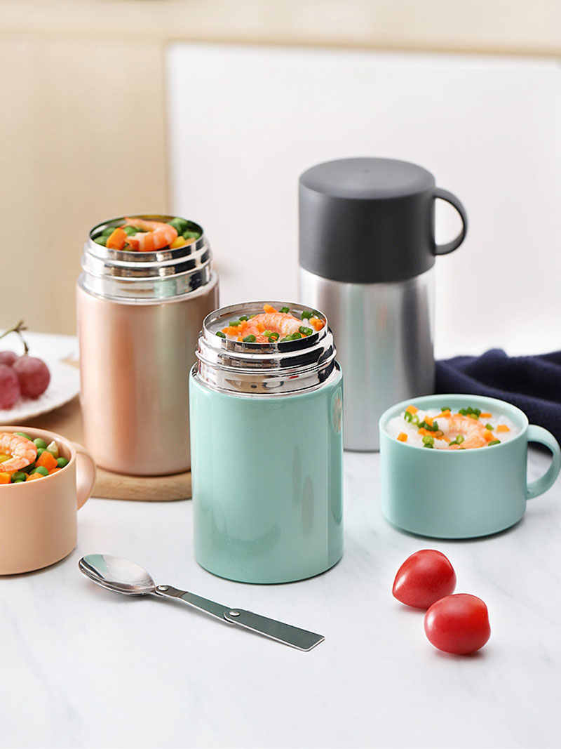Grote Capaciteit 550ml Voedsel Thermos Lunchbox Draagbare Roestvrij Staal Geïsoleerde Soep Pap Container Outdoor Thermocup
