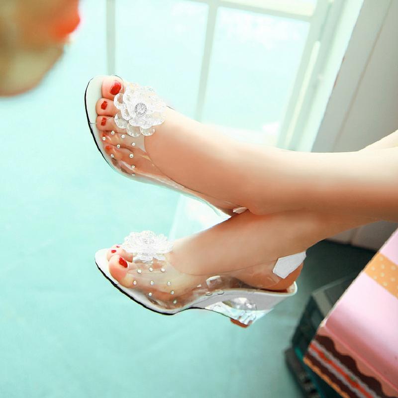 Platform Sandals Shoes Transparent-Shoes Crystal Open-Toe Floral Ladies Wedges Women