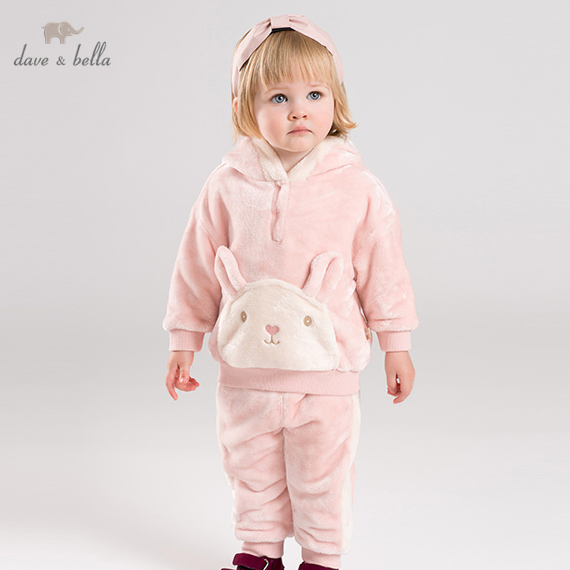 DBM12323 Dave Bella Pajamas Set Children Winter Unisex Baby Kids Home Clothing Print Long Sleeve Baby Sleepwear Suit