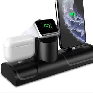 Image 2 - Soporte de carga 3 en 1 para Airpods Pro, estación de carga de silicona para Iphone 11, Iphone 11 Pro, soporte de cargador para Apple Watch 5