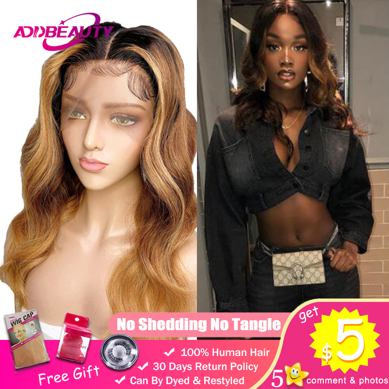 Lace Front Human Hair Wigs For Black Woman Brazilian Remy 13x4 13x6 370 Fake Scalp Pre-Plucked Ombre Color 1B 4 27 Body Wave