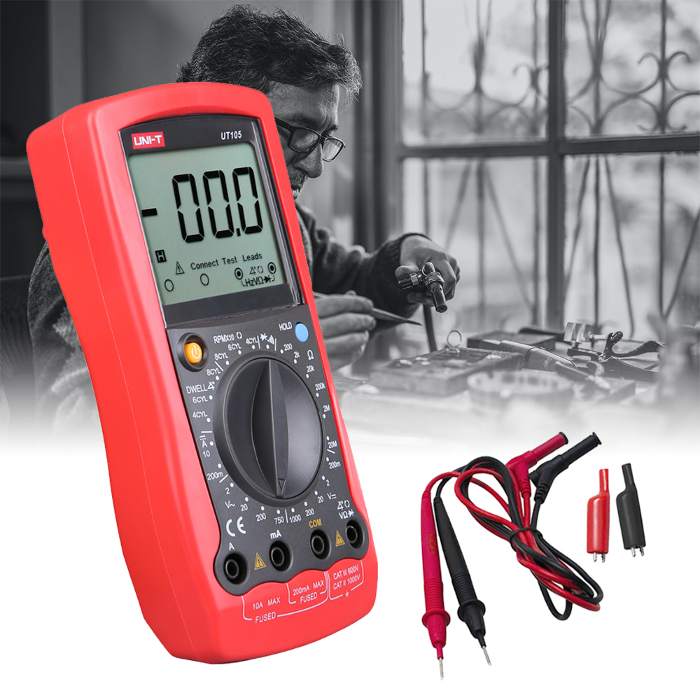 UNI-T <font><b>UT105</b></font> Handheld Automotive Multipurpose Meters Input ProtectionAC DC Diode Test Manual Range Multimeters image