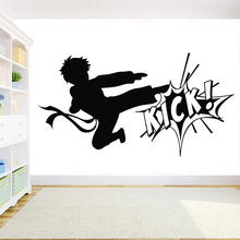 Karate Boy Vinyl Wall Decal Fighting Kick Martial Arts Sport Gym Wall Stickers Removable Living Room Deciration Wallpaper Z323 z323 20150112