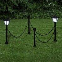 VidaXL Kette Zaun Mit Solar Lichter Zwei LED Lampen Mit Post Und Boden Spike Geeignet Für Gärten Terrassen Und Hof auf