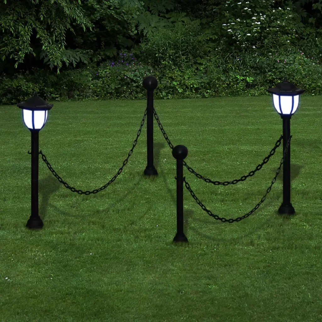 VidaXL Chain Fence With Solar Lights Two LED Lamps With Post And Ground Spike Suitable For Gardens Patios And Yard