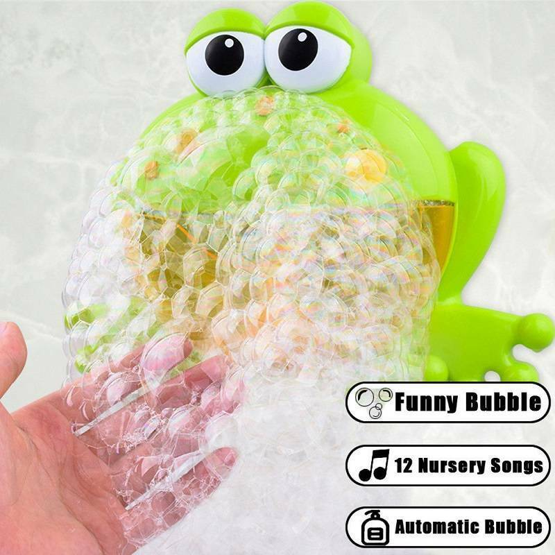2020 Newest Kid Baby Automatic Frog Bathing Bubble Machine Music Toy Bubble Machine Bath Toy Music Bubbler