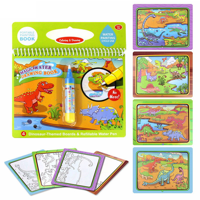 Magic Water Drawing Book Reusable Cartoon Coloring Book Doodle & Magic Pen Painting Drawing Board For Kids Toys Birthday Gifts