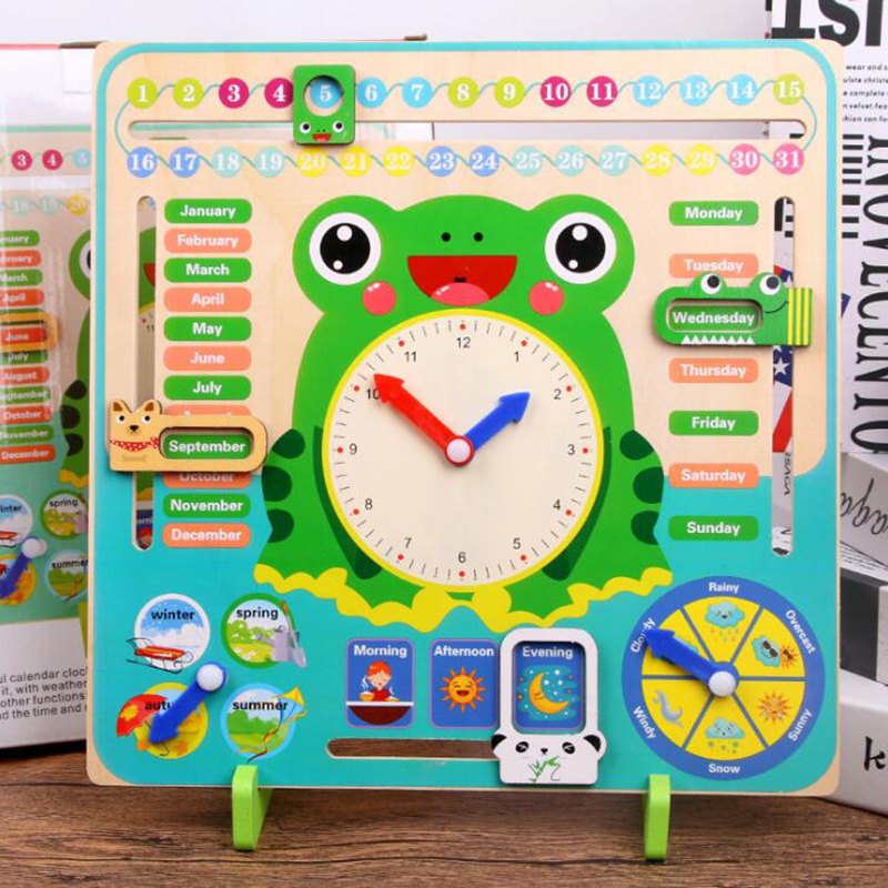 Montessori Weather Calendar Clock Wooden Toys Calendar Clock Time Cognition Preschool Educational Teaching Aids Toy For Children