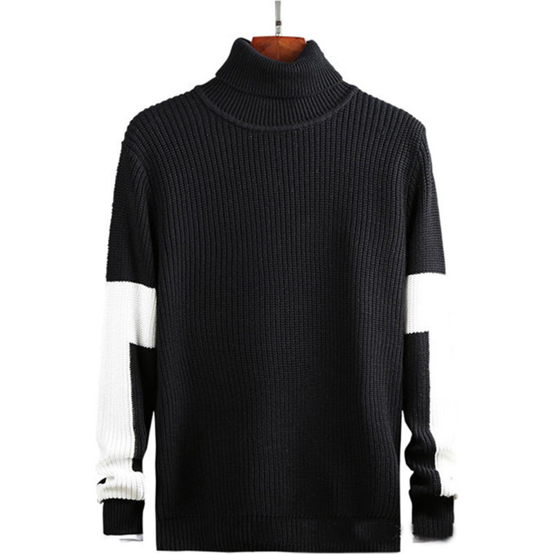 Autumn Winter High Neck Sweaters Korean Version Pullover Handsome And Color Blocked T-shirt Loose And Thickened Base Coat Cotton
