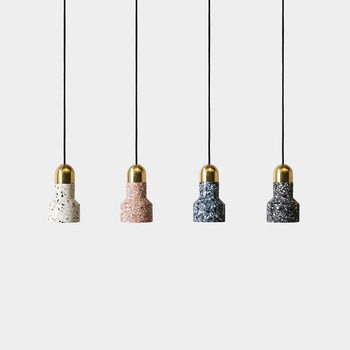 Vintage industrial cement small hanging lamp led colorful terrazzo design single head pendant lighting