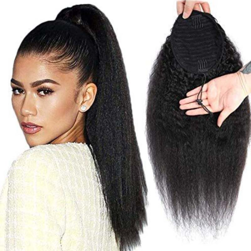 Long Afro Kinky Curly Ponytail Clip In Extension 22 Inch Synthetic Drawstring Yaki Hair Piece For Women Black