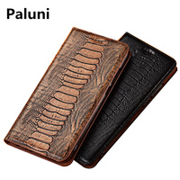 Genuine real leahther ostrich foot pattern phone bag for LG Stylo 5 flip cover for LG Stylo 4 flip case card slot holder capa
