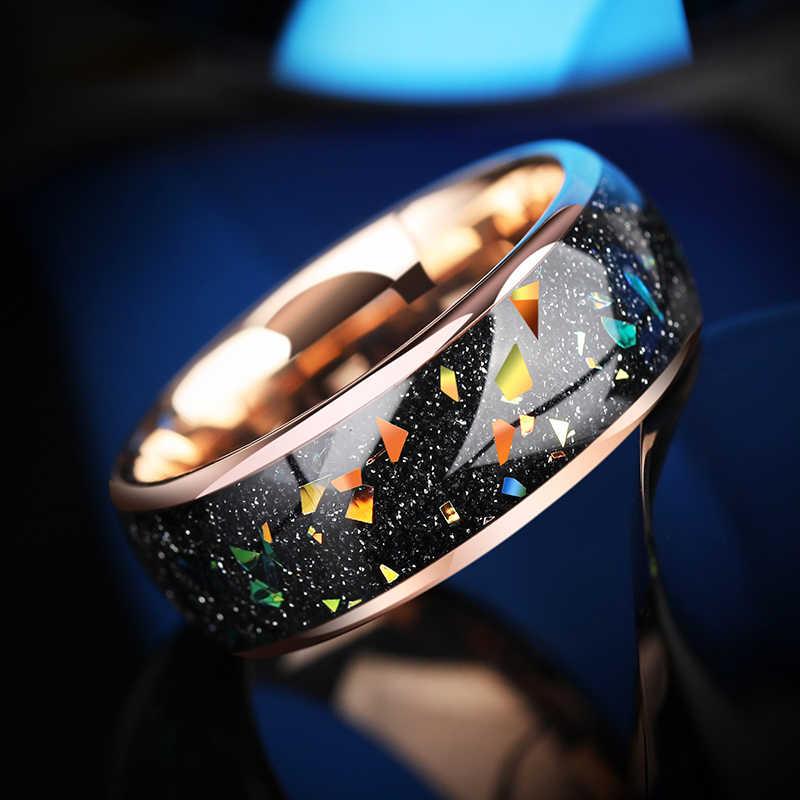 2019 ฤดูใบไม้ร่วงใหม่ 8 มม.แหวนหมั้น OPAL แหวนทังสเตน Rose Gold ทังสเตนผู้ชายเครื่องประดับขนาด 7.5-10.5